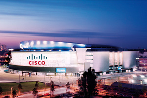Cisco Expo: O2 World Berlin mit Cisco Logo