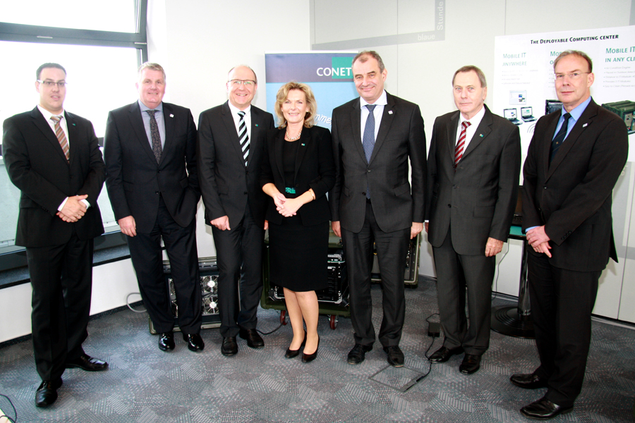 Image: NATO CI Agency visiting CONET; with NCIA General Manager Major General (ret.) Koen Gijsbers (3rd from right), Director Acquisition Peter Scaruppe (2nd from left), CONET CEO Rüdiger Zeyen (3rd from left) and CONET Solutions Managing Director Anke Höfer (center). Copyright: CONET 2013