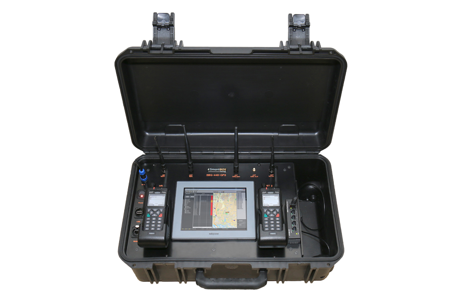 The Mobile Command Flightcase of CONET UC Radio Suite - equipped with Panel PC and two Hand Radio Terminals (HRTs)