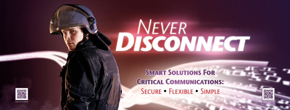 Image: CONET UC Radio Suite - Policeman in Combat Gear - Never Disconnect: Smart Solutions for Critical Communications - Secure - Flexible - Simple