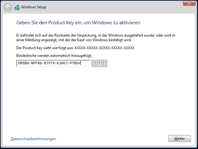Eingabe des Windows Server 2012R2 AVMA-Schlüssel bei der Installation