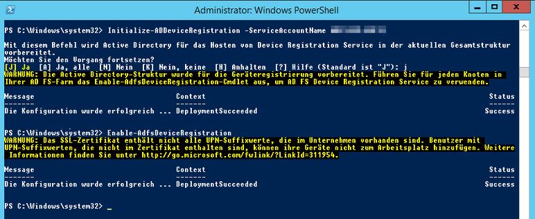 Einrichten der Device Aktivierung für den ADFS 3.0