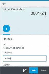 Smarthone-Ansicht der App zum Erfassen von Messwerten