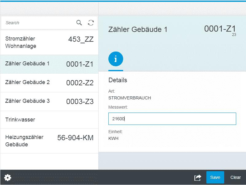 Tablet-Ansicht der CONET Fiori-like App zum Erfassen von Messwerten