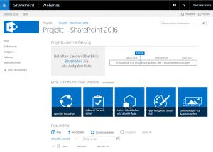Projektarbeitsraum in SharePoint 2016