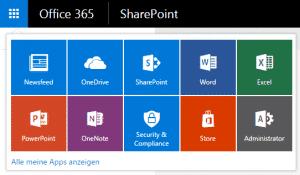 """""""SharePoint Home"""" über den App Launcher aufrufen"""