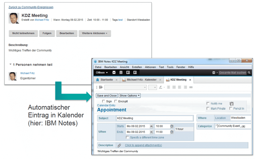 Screenshot: Beispielhafte Terminplanung mit dem Event Connector der Helper Suite for IBM Connections