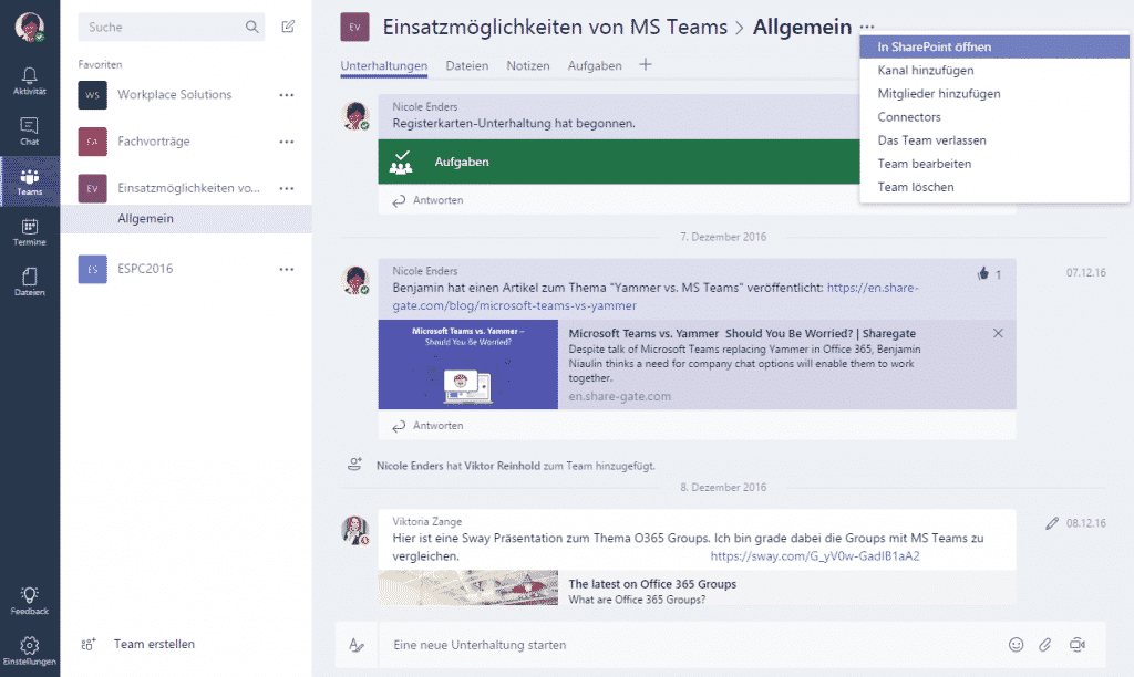 Chatbereich in Microsoft Teams