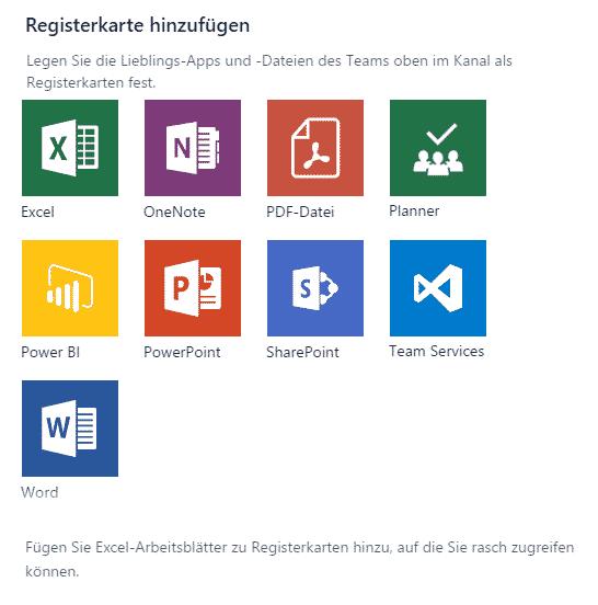 Office-365-Apps für ein Team auswählen