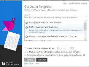Azure Information Protection Rechtemanagement