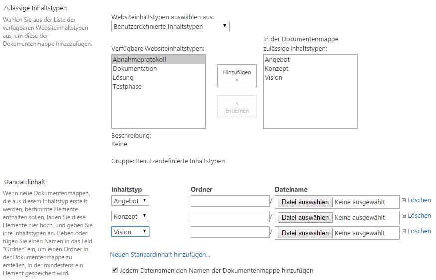 Konfiguration der Dokumentenmappe für ein Angebot