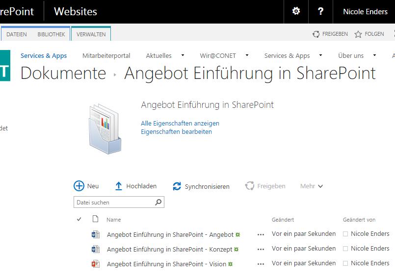 Neu angelegte Angebotsmappe mit automatisch erstellten Dokumenten