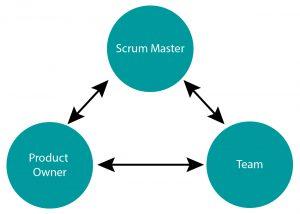 Eine Symbiose: Scrum Master, Product Owner und Team arbeiten parallel und im engen Austausch miteinander