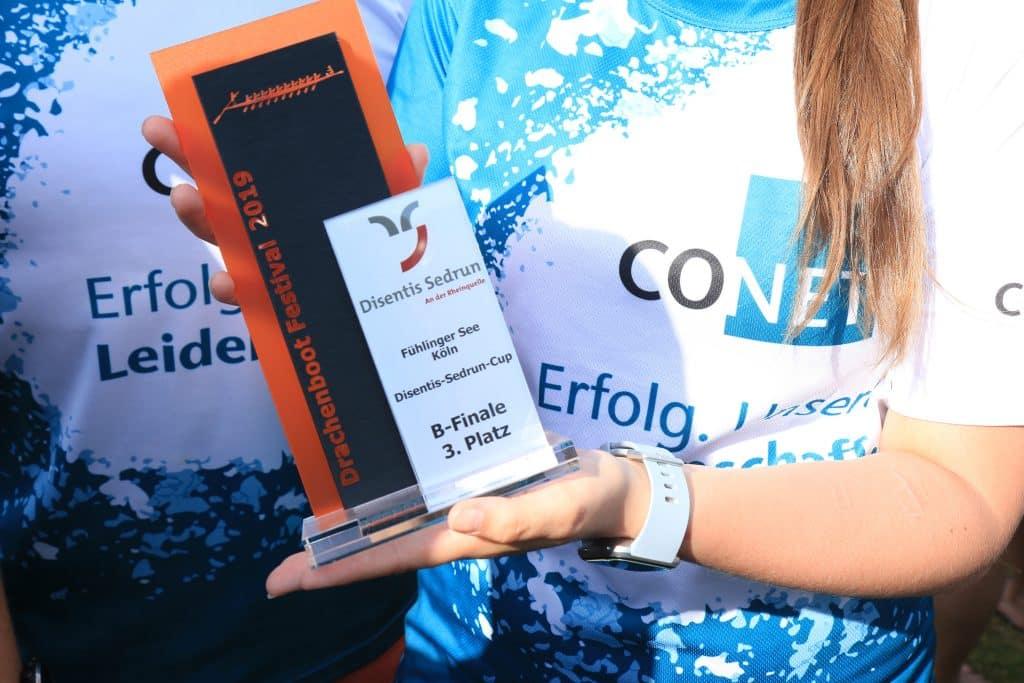 CONET beim Drachenboot-Festival auf dem Fühlinger See in Köln - Das Ergebnis 2019: Mit lediglich 7 Zehnteln Rückstand auf dem hervorragenden 3. Platz im B-Finale unseres Cups.