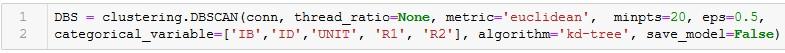 Screenshot: Test-Parametrisierung DBSCAN