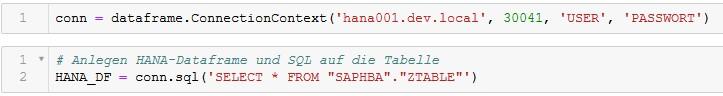 Screenshot: Verbindungsangaben und ein einfaches SELECT, HANA-Dataframe