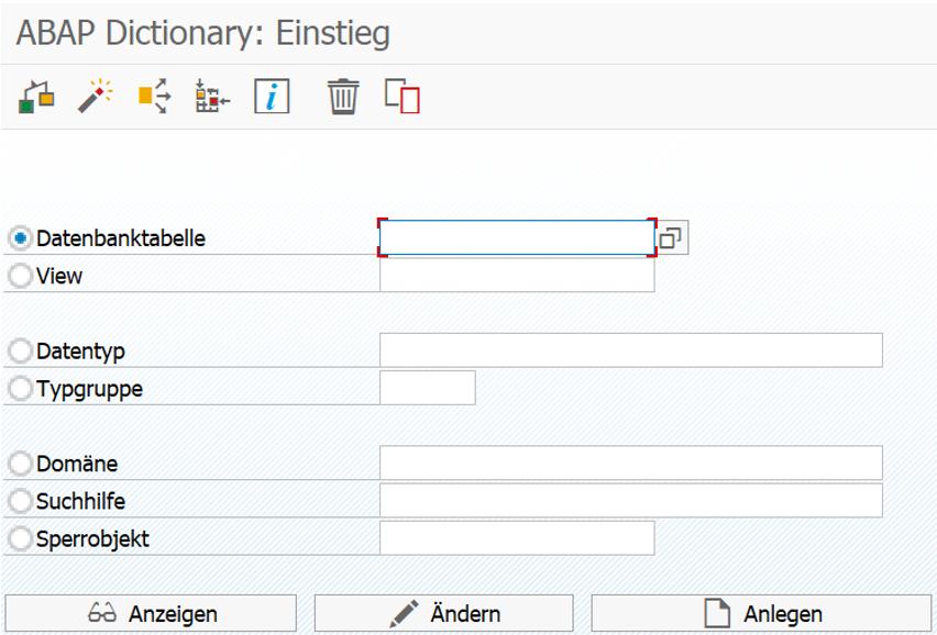 Einstiegsbildschirm des ABAP Dictionary