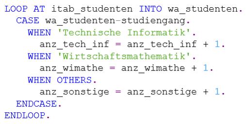 Nutzung der CASE-Struktur in ABAP