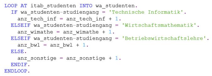 Nutzung von IF, ELSEIF und ELSE in ABAP