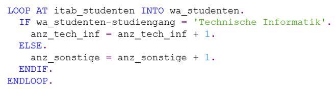 Nutzung von IF und ELSE in ABAP