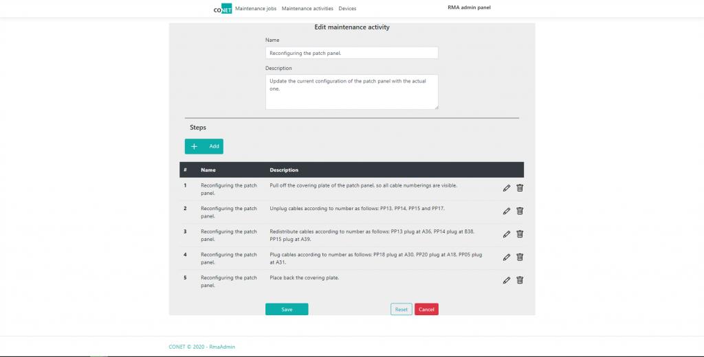 Bearbeiten eines Wartungs-Jobs im CONET Rack Management Assistent für die Mixed Reality Maintenance [Bild: (c) CONET]